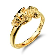 Cara Beli Membuka Cincin Wanita Warna Emas Ring Animal Pi Xiu Perhiasan Adjustable Pernikahan Cincin Fashion Wanita Perhiasan