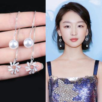 Pencarian Termurah S925 perak murni anting-anting perempuan Jepang Korea Selatan Elegan minimalis kepribadian netral orang trendi model panjang super elegan ...