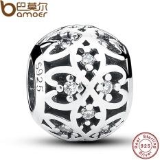Asli Manik Sesuai Pesona Gelang 925 Sterling Perak Kisi Yang Rumit Openwork Bola dengan Bening CZ Perhiasan DIY PAS060-Internasional