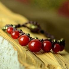 Desain Asli Thailand Gaya Etnik Gelang Vintage Gaya Perhiasan Red Agate Handmade Wax Cord Bracelet untuk Pria dan Wanita- INTL