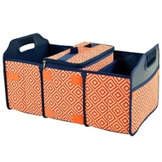 Original Folding Trunk Organizer with Cooler by Picnic at Ascot - Orange/Navy - intl
