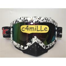 ORIGINAL - KACA MATA GOOGLE JPX WHITE RAINBOW - UNTUK HELM CROSS TRAIL GM KYT JPX