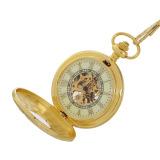 Jual Beli Orkina Retro Printing Stainless Steel Analog Manual Mechanical Pocket Watch Golden
