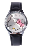 Obral Ormano Jam Tangan Anak Hitam Leather Strap Fun Hello Kitty G*rl Watch Murah