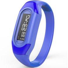 ... Ormano Jam tangan Unisex Strap Karet Biru LED Gelang Alarm Date Watch