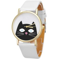 Harga Hemat Ormano Jam Tangan Wanita Putih Strap Kulit Little Black Kitty Watch