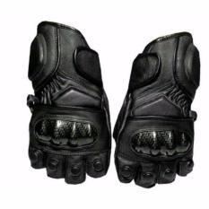Ormano Sarung Tangan Motor Racing Bike Fingerless Cevlar All Size Bahan Kulit Anti Slip Setengah Ja