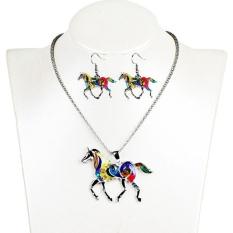Oscar Toko Modis Unicorn Minyak Menetes Pelangi Horse Kalung Anting-Anting Set Wanita-Internasional