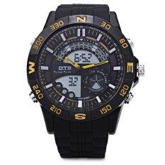 OTS 8070G Dual Movt Pria Analog LED Digital QUARTZ Watch Luminous Pointer 50 M Tahan Air Jam Tangan (Kuning)