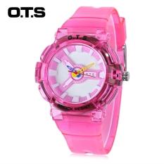 OTS T1166L Jam Kuarsa untuk Anak 50 M Tahan Air Pita Plastik Jam Tangan Olahraga (Merah Muda)