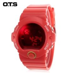 OTS T7003G Anak LED Jam Digital Hari Tanggal Tampilan 5ATM Olahraga Penghitung Waktu Jam Tangan (Merah)-Intl