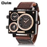 Toko Oulm 3595 Tiga Movt Quartz Watch Rectangle Dial Kanvas Kulit Band Wristwatch Lengkap Tiongkok