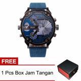 Beli Oulm 789365 Jam Tangan Pria Luxury Kulit Sintetis Jeans Free Box Jam Tangan Cicilan