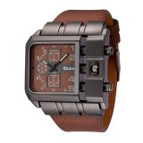 Spesifikasi Oulm Merek Desain Unik Square Men Wristwatch Lebar Big Dial Casual Leather Strap Quartz Watch Pria Sport Watches Dan Harganya