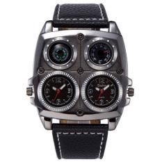 Oulm Jam Tangan Analog Dual Compass Quartz - 1140 - Black