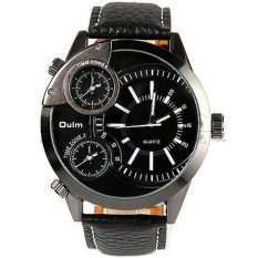 Harga Oulm Mechanical Analog Quartz Men Leather Band Fashion Watch 3136 Hitam Oulm Asli