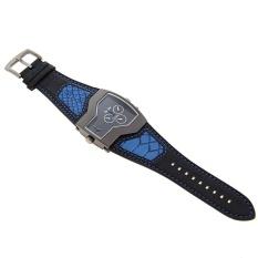 OULM Pria Militer Oversize Multi Zona Waktu 2 Dials Kulit Analog Sports Wrist Watch HP1220B Biru Band Blue Face- INTL