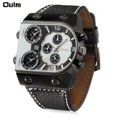 Oulm Multi-Fungsi 3-Movt QUARTZ Jam Tangan Kulit Pria Militer Olahraga Watch-Intl