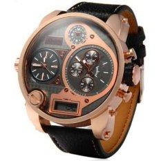 Oulm Quartz Men Leather Band Fashion Watch - 9316B - Black Gold
