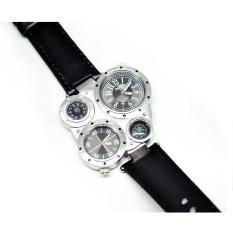 Oulm Quartz Men Leather Band Fashion Watch - 9415 - Silver Black