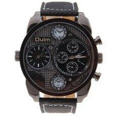 Oulm Quartz Men Leather Band Fashion Watch - Hitam