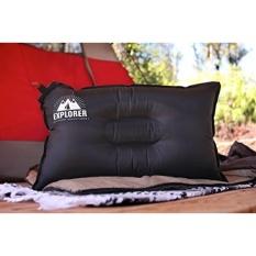Outdoor Petualang Travel Bantal Tiup-Air Top Sleeping untuk Aksesori Kepala & Leher-Indoor/Outdoor Camping, Naik Mobil, Pesawat-Incl. Membawa Tas (Hitam)-Intl