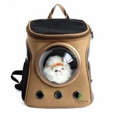 Petelur Portabel Outdoor Bag Canvas Bag Bernapas Kucing Pembawa Tas Ransel Tas Kucing (Brown)-Intl
