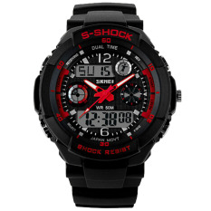 Katalog Olahraga Outdoor Tahan Air Shockproof Watch Multifungsi Dual Time Display Led Analog Digital Watch Pria Tahan Air Elektronik Jam Tangan Merah Terbaru