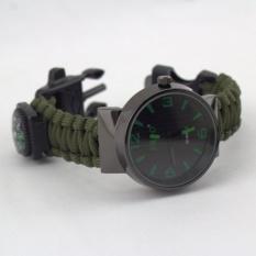 Outdoor Survival Kit Paracord Wrist Watches Compass Flint Whistle Bushcraft Gear Intl Diskon Tiongkok