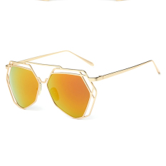 Beli Kolam Wanita Kacamata Hitam Tidak Teratur Lensa Kacamata Warna Emas Merah Oem Dengan Harga Terjangkau