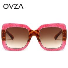 OVZA Wanita Terlalu Besar Kacamata Hitam Merek Dirancang Pria Fashion Sunglasses Square Kacamata Vintage Gradien Multicolor Bingkai S6062-Intl