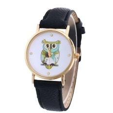 Owl Pola Kulit Band Analog QUARTZ Vogue Wrist Watches BK-Intl