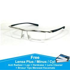 P8189 Frame Kacamata Half Formal Baca / Plus / Minus Anti Radiasi Komputer