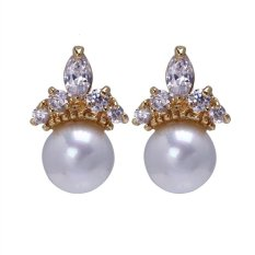 Sepasang Wanita Girls Pearl Gaya Telinga Berlapis Emas Liontin Earrings (Putih)
