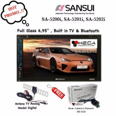 Paket Audio Mobil Head Unit SANSUI SA-5200i / SA-5201i / SA-5202i Double Din Tape + Rear Camera Pioneer + Antena TV