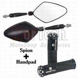 Jual Paket Kaca Spion Daun Handpad Handgrip Jalu Bintik Monster Mio M3 125 Hitam Baru