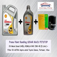 Paket Oli Mobil Diesel SHELL RIMULA R4X 6 L + Filter Oli TOYOTA INNOVA