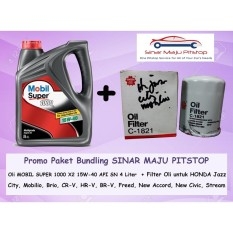 Paket Oli MOBIL SUPER 15W-40 API SN 4 LITER & Filter Oli SAKURA HONDA JAZZ / HONDA ALL NEW JAZZ RS ORIGINAL