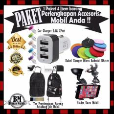 Paket Perlengkapan Accesories Mobil Anda - Casan Mobil 5.1A 3Port & Kabel Charger 3Meter - Holder Mobil Kaca Mobil & Tas Penyimpanan Belakang Jok Mobil