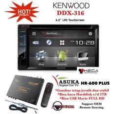 PAKET PROMO Kenwood DDX-316 Head Unit Double Din Tape Mobil & ASUKA HR-600 TV Tuner Digital