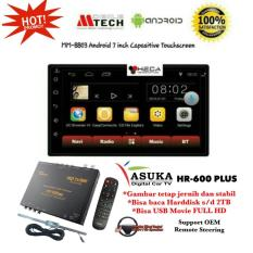 PAKET PROMO Mtech Mobile Tech MM-8803 Android Head Unit Double Din 7inch Tape MM 8803 Audio Mobil 7-inch & ASUKA HR-600 TV Tuner Digital