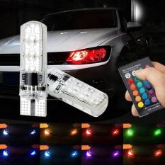 PAlight 2 Pcs T10 5050 SMD 6 LED RGB mobil lampu Remote Controll