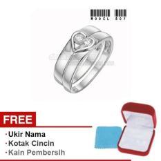 Papedaku - Cincin Exclusive dengan USA Diamond untuk Pernikahan / Perkawinan / Pertunangan (Gratis Ukir Nama + Kotak Cincin + Kain Pembersih) - Model 807