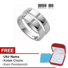 Papedaku - Cincin Exclusive dengan USA Diamond untuk Pernikahan / Perkawinan / Pertunangan (Gratis Ukir Nama + Kotak Cincin + Kain Pembersih) - Model 812