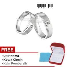 Papedaku - Cincin Exclusive dengan USA Diamond untuk Pernikahan / Perkawinan / Pertunangan (Gratis Ukir Nama + Kotak Cincin + Kain Pembersih) - Model 817