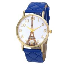 Paris Menara Eiffel Bahan Kulit Imitasi untuk Wanita Jam Tangan Kuarsa Analog Watch Biru