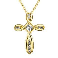 Pesta Lady Liontin Fashion Rantai Wanita Zircon Putih Gold Berlapis Kalung dengan Salib Berbentuk
