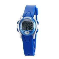 Pasnew PSE-243 Tahan Air Piyama Cowok Cewek LED Digital Olahraga Jam Tangan dengan Tanggal/Minggu/Alarm/Stopwatch (Biru)