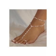 Pearl Barefoot Sandal Anklet Gelang Kaki Ankle Chain Toe Ring Perhiasan Pengantin-Intl