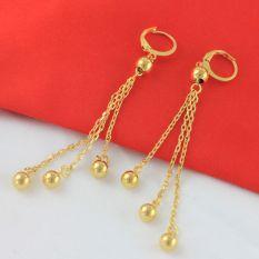 Kacang Polong Rumbai Miniatur Emas Bola Giok Anting